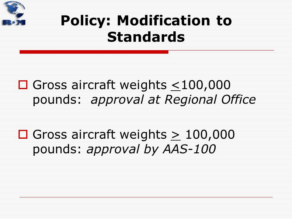 Policy: Modification to Standards