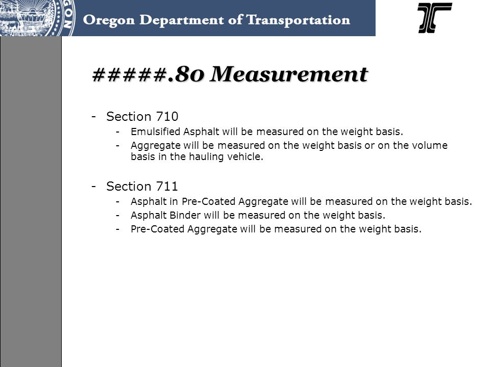 #####.80 Measurement Section 710 Section 711