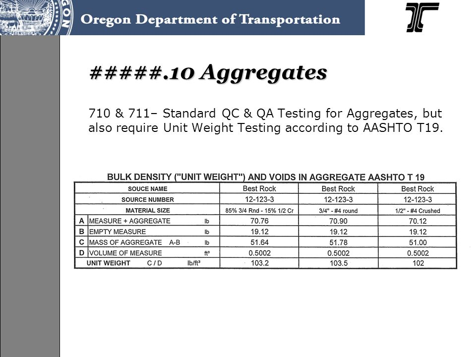 #####.10 Aggregates 710 & 711– Standard QC & QA Testing for Aggregates, but also require Unit Weight Testing according to AASHTO T19.