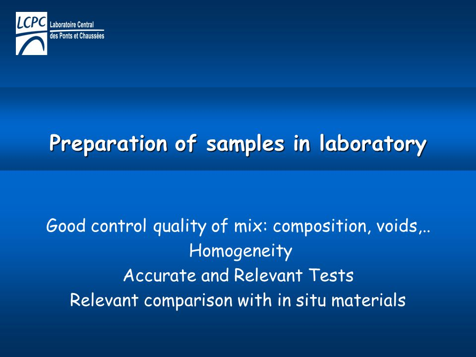 Preparation of samples in laboratory
