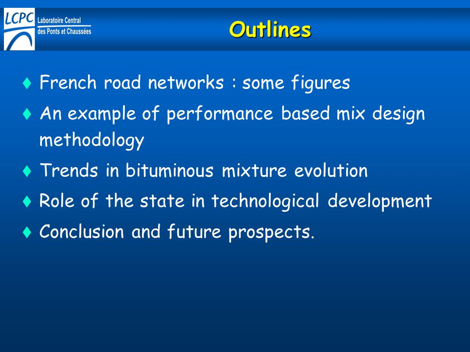 Outlines French road networks : some figures