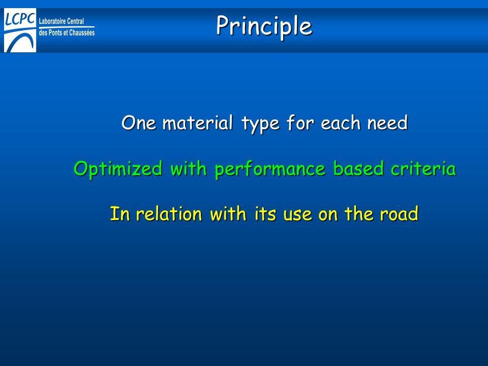 Principle One material type for each need Optimized with performance based criteria In relation with its use on the road.