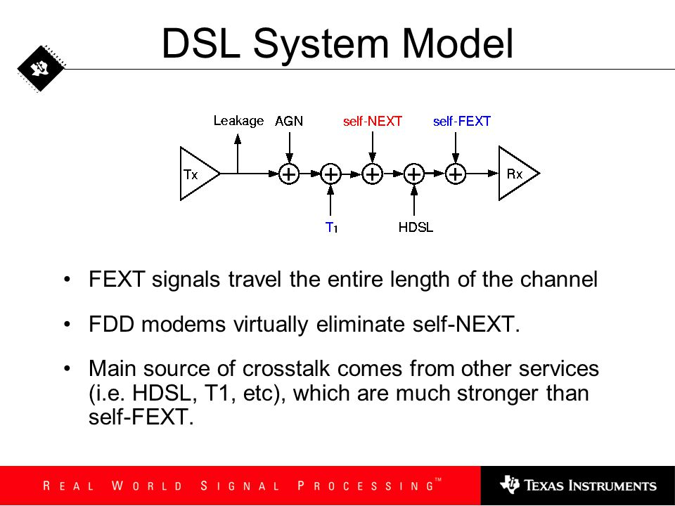 DSL System Model FEXT signals travel the entire length of the channel