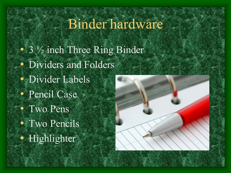 Binder hardware 3 ½ inch Three Ring Binder Dividers and Folders