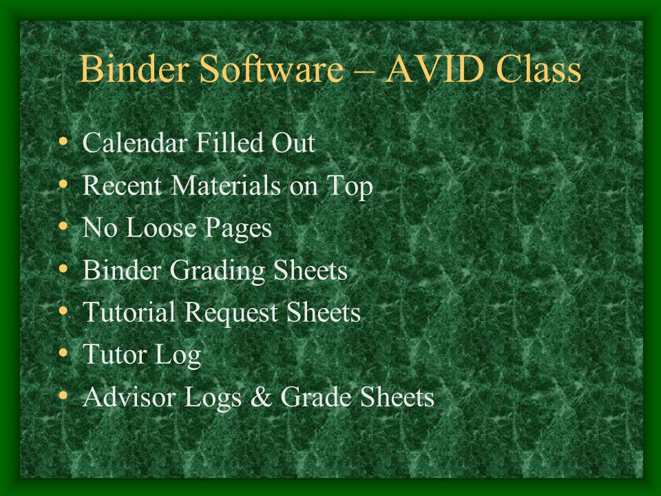 Binder Software – AVID Class