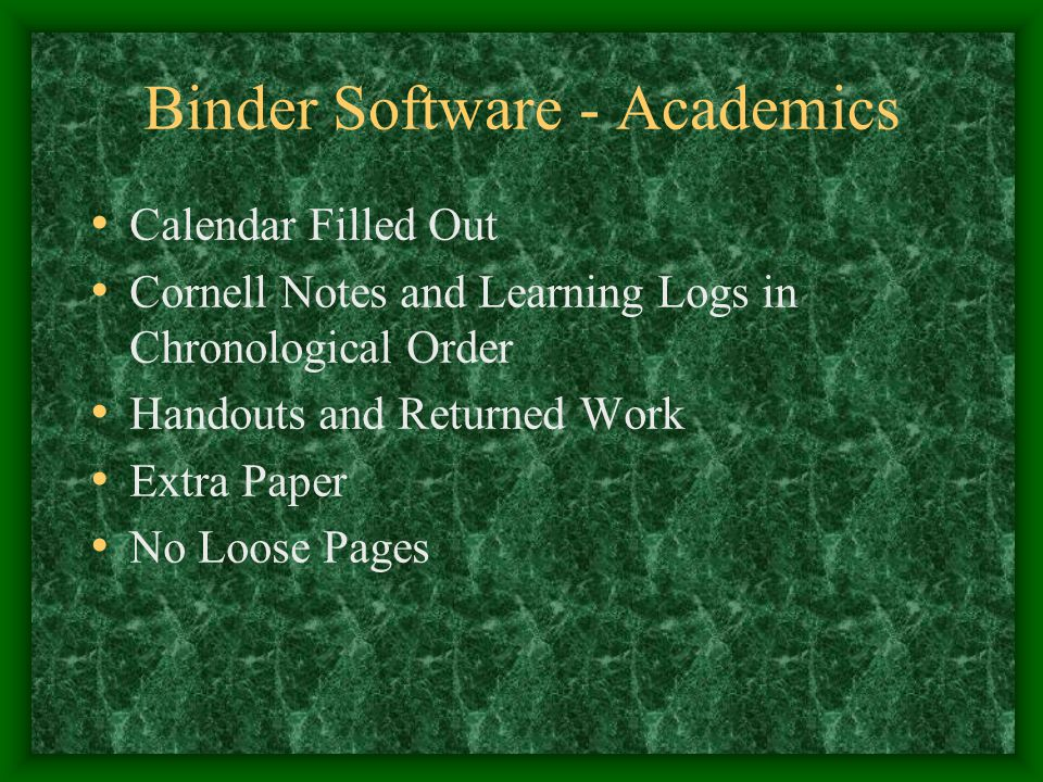 Binder Software - Academics