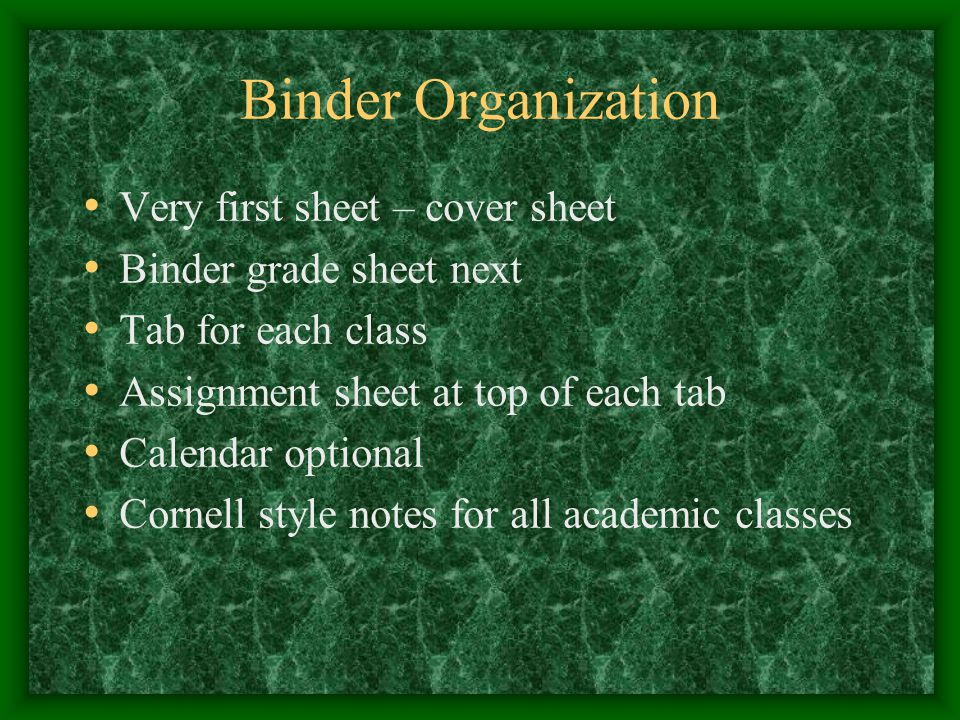 Binder Organization Very first sheet – cover sheet