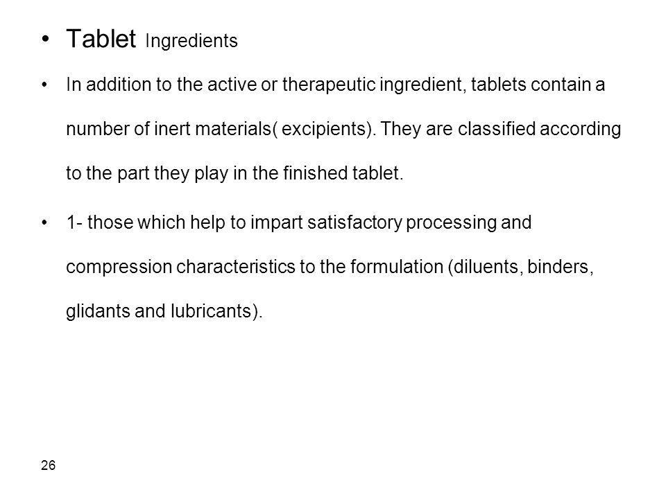 Tablet Ingredients
