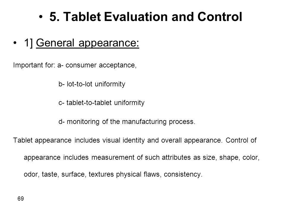 5. Tablet Evaluation and Control