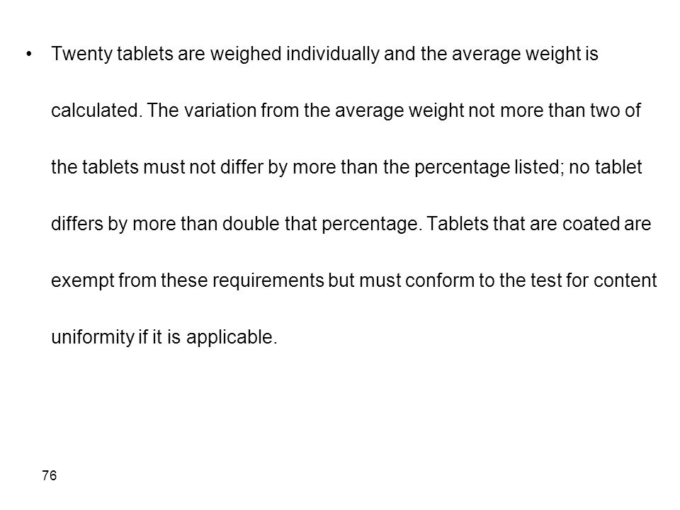 Twenty tablets are weighed individually and the average weight is calculated.