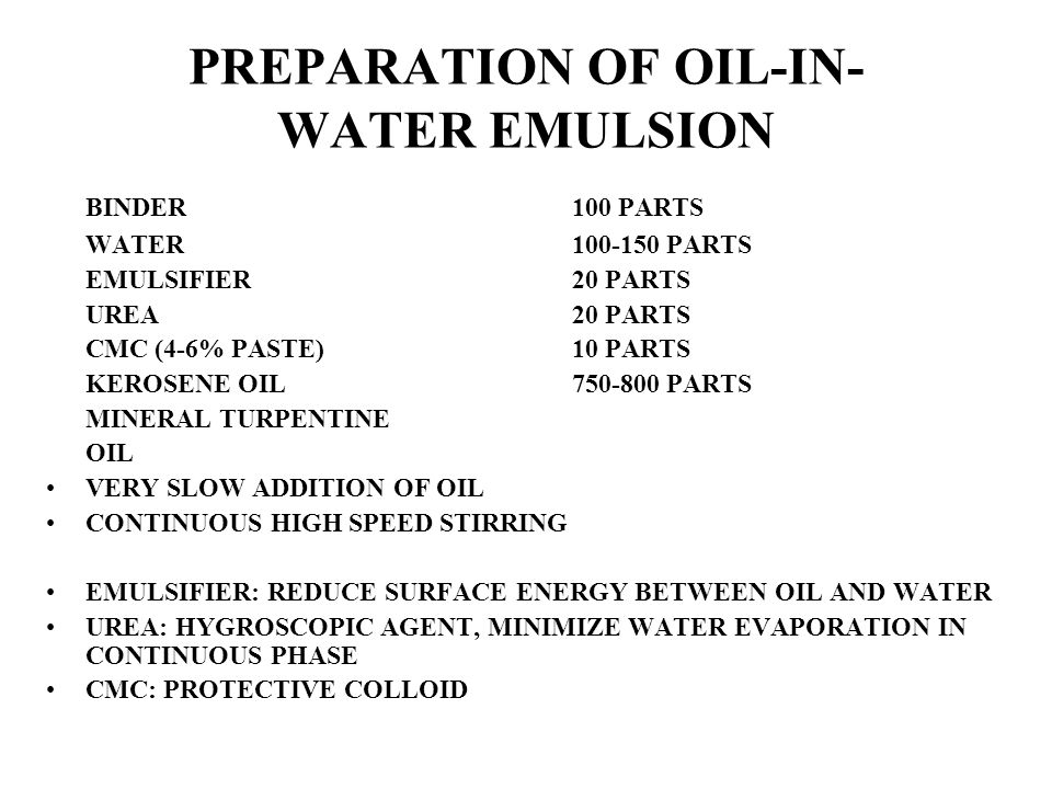 PREPARATION OF OIL-IN-WATER EMULSION