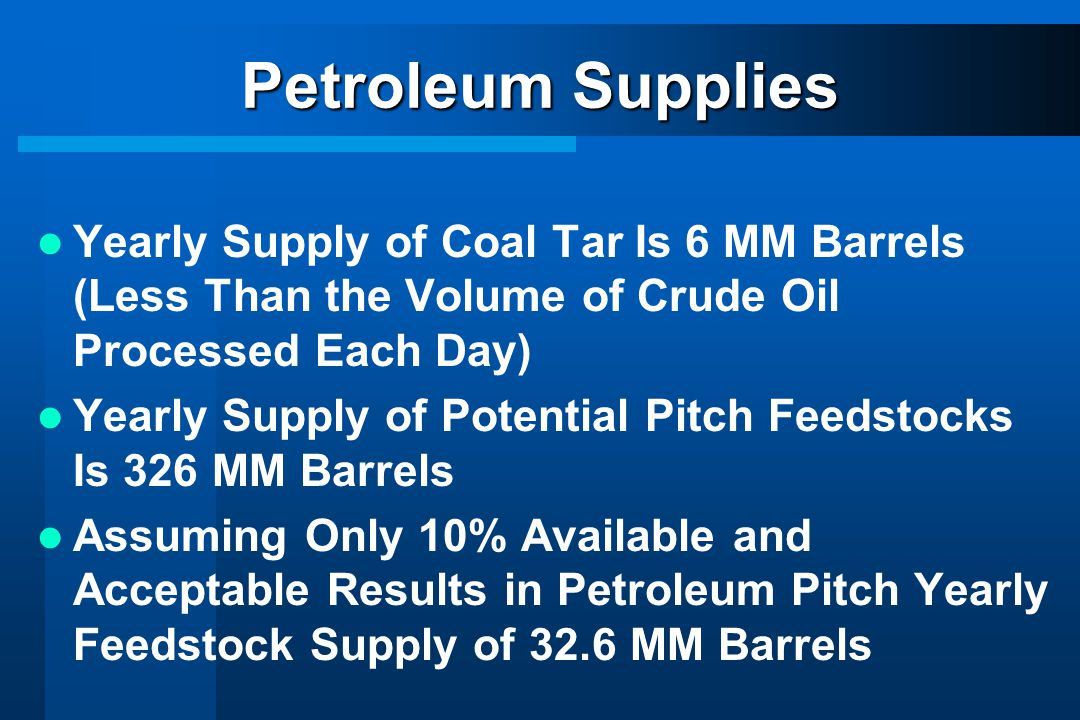Petroleum Supplies Yearly Supply of Coal Tar Is 6 MM Barrels (Less Than the Volume of Crude Oil Processed Each Day)
