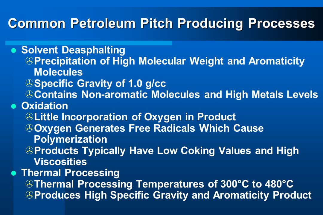 Common Petroleum Pitch Producing Processes