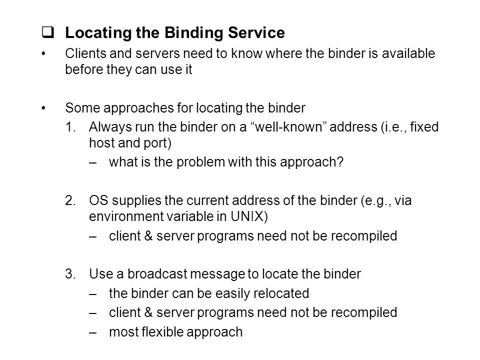 Locating the Binding Service