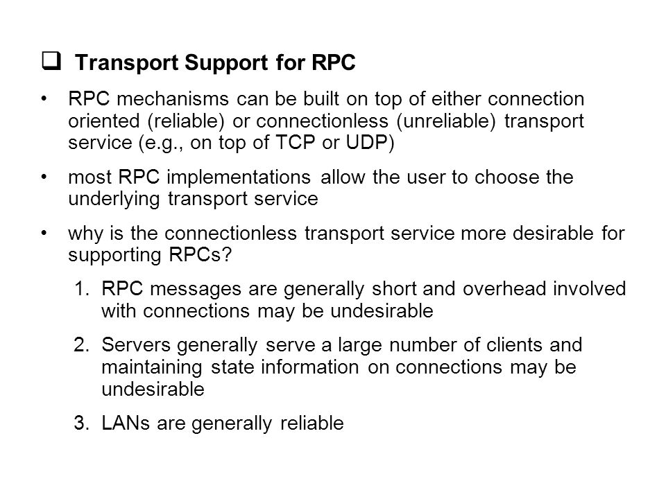 Transport Support for RPC