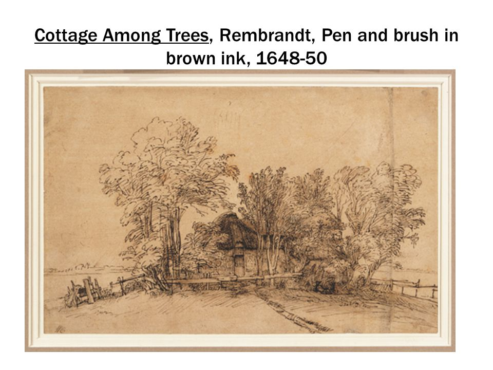 Cottage Among Trees, Rembrandt, Pen and brush in brown ink, 1648-50