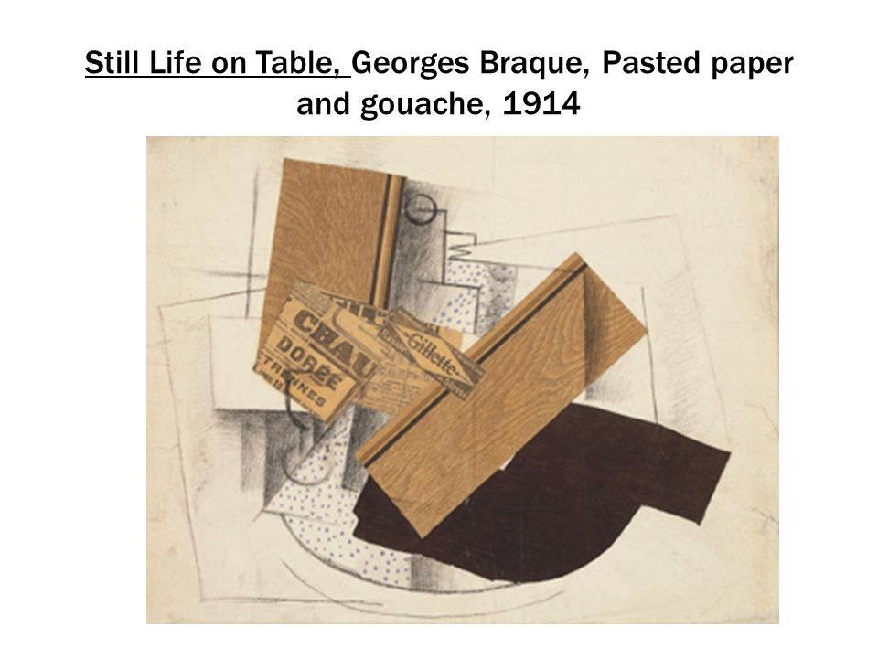 Still Life on Table, Georges Braque, Pasted paper and gouache, 1914