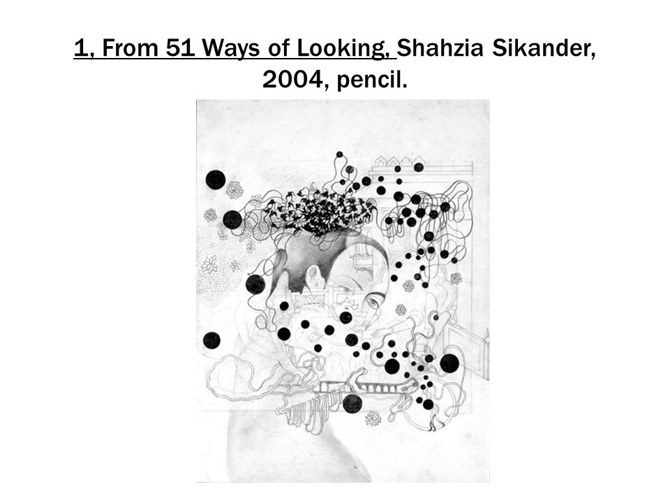 1, From 51 Ways of Looking, Shahzia Sikander, 2004, pencil.