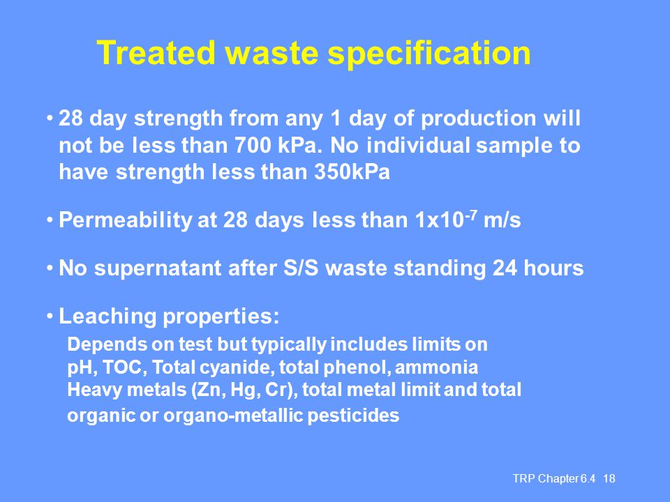 Treated waste specification