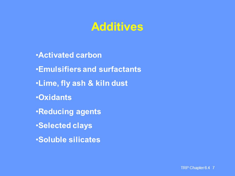 Additives Activated carbon Emulsifiers and surfactants