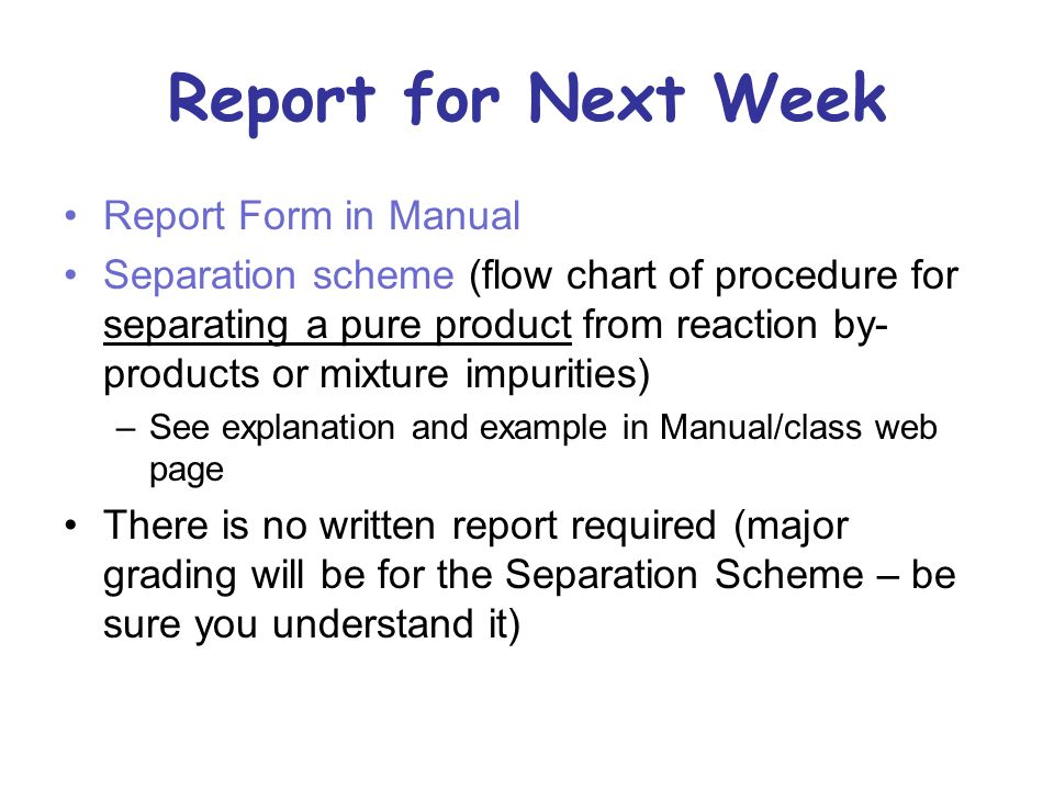 Report for Next Week Report Form in Manual