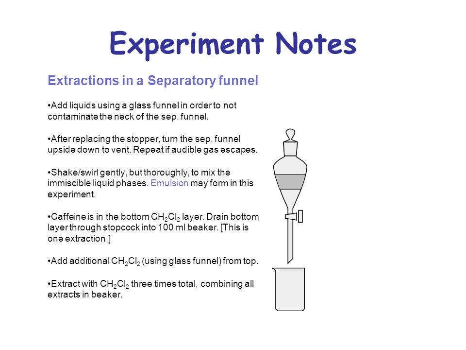 Experiment Notes Extractions in a Separatory funnel