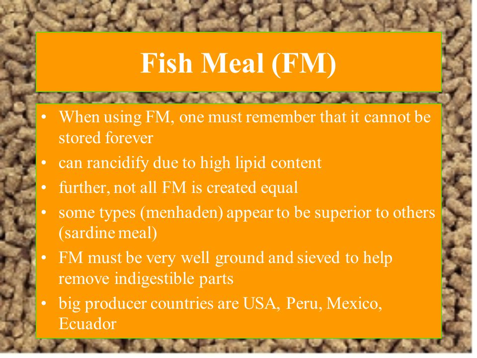 Fish Meal (FM) When using FM, one must remember that it cannot be stored forever. can rancidify due to high lipid content.