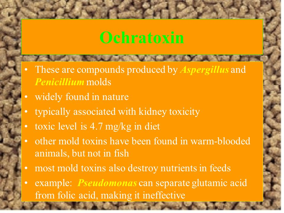 Ochratoxin These are compounds produced by Aspergillus and Penicillium molds. widely found in nature.