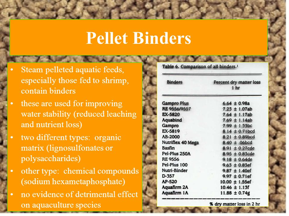Pellet Binders Steam pelleted aquatic feeds, especially those fed to shrimp, contain binders.