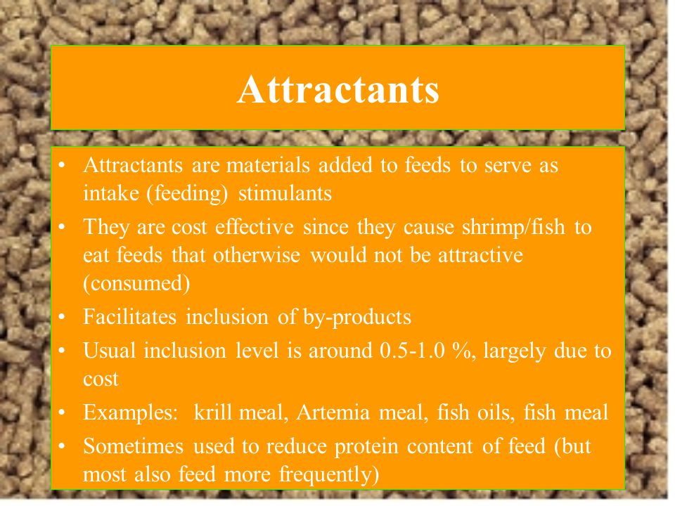 Attractants Attractants are materials added to feeds to serve as intake (feeding) stimulants.