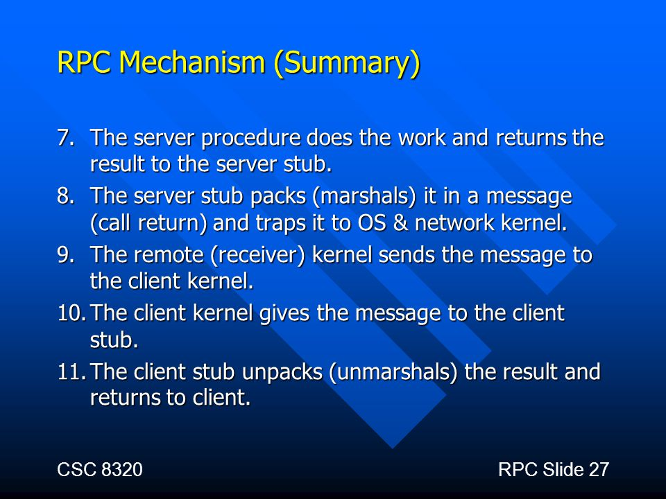 RPC Mechanism (Summary)