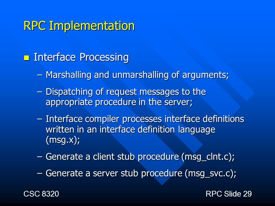RPC Implementation Interface Processing