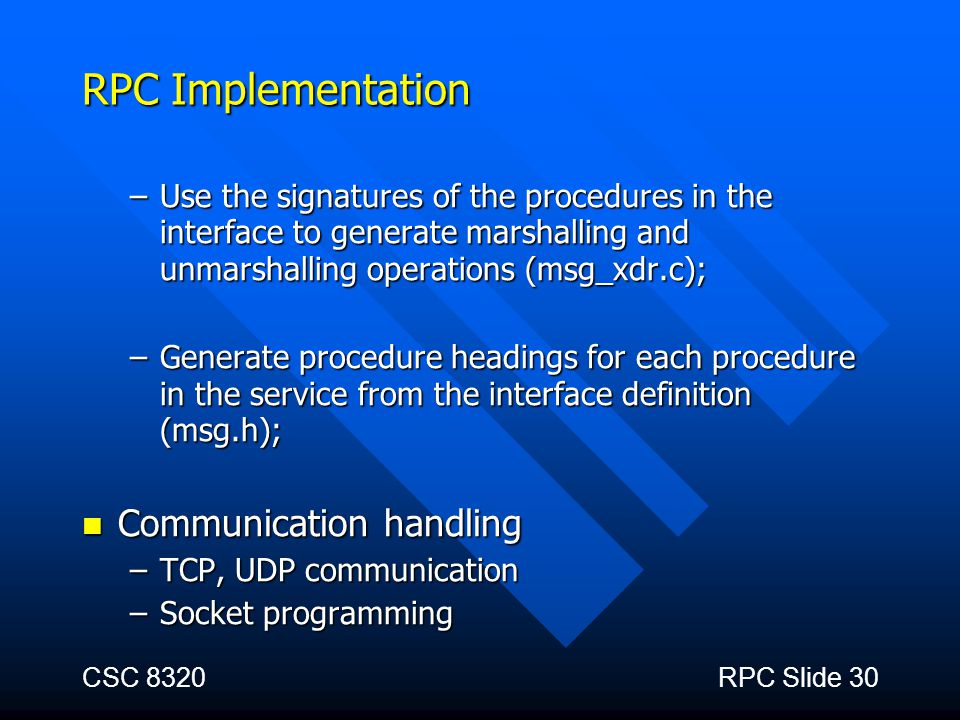 RPC Implementation Communication handling