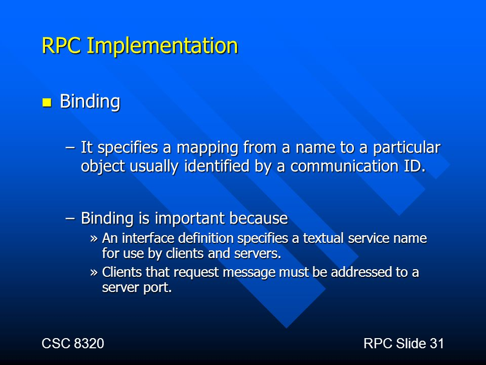 RPC Implementation Binding
