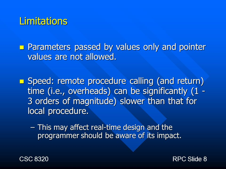 Limitations Parameters passed by values only and pointer values are not allowed.