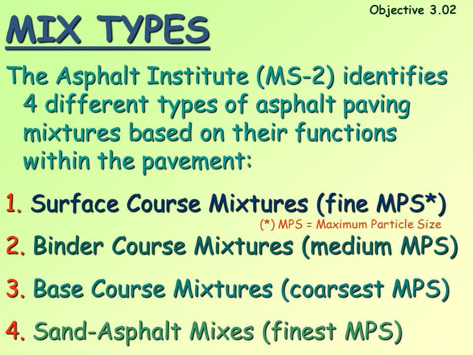 MIX TYPES Objective 3.02.