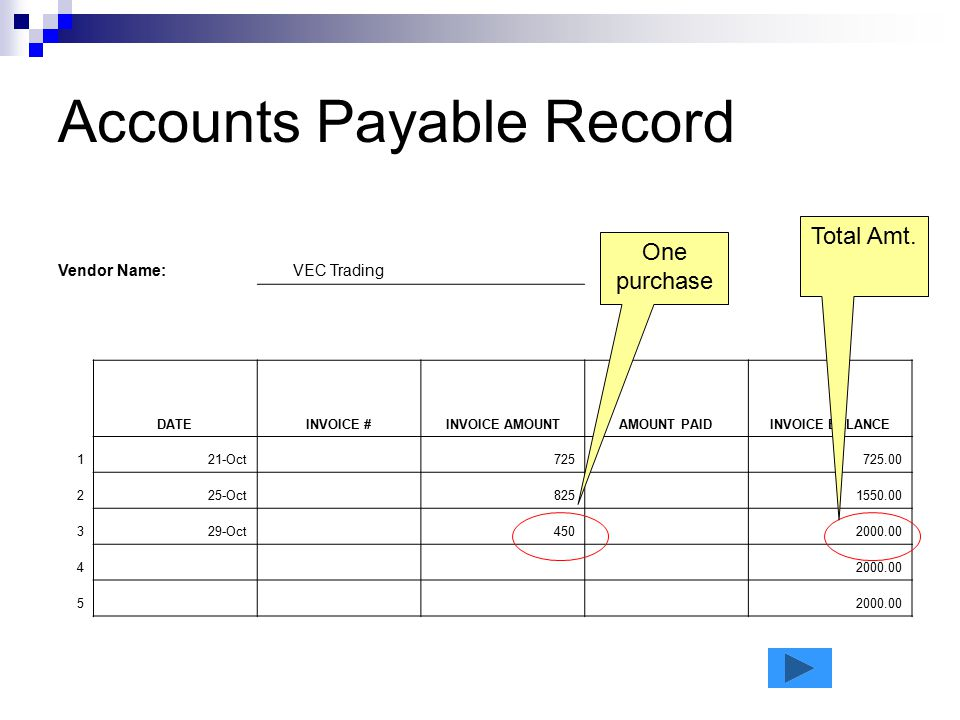 Accounts Payable Record