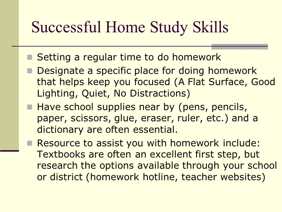 Successful Home Study Skills