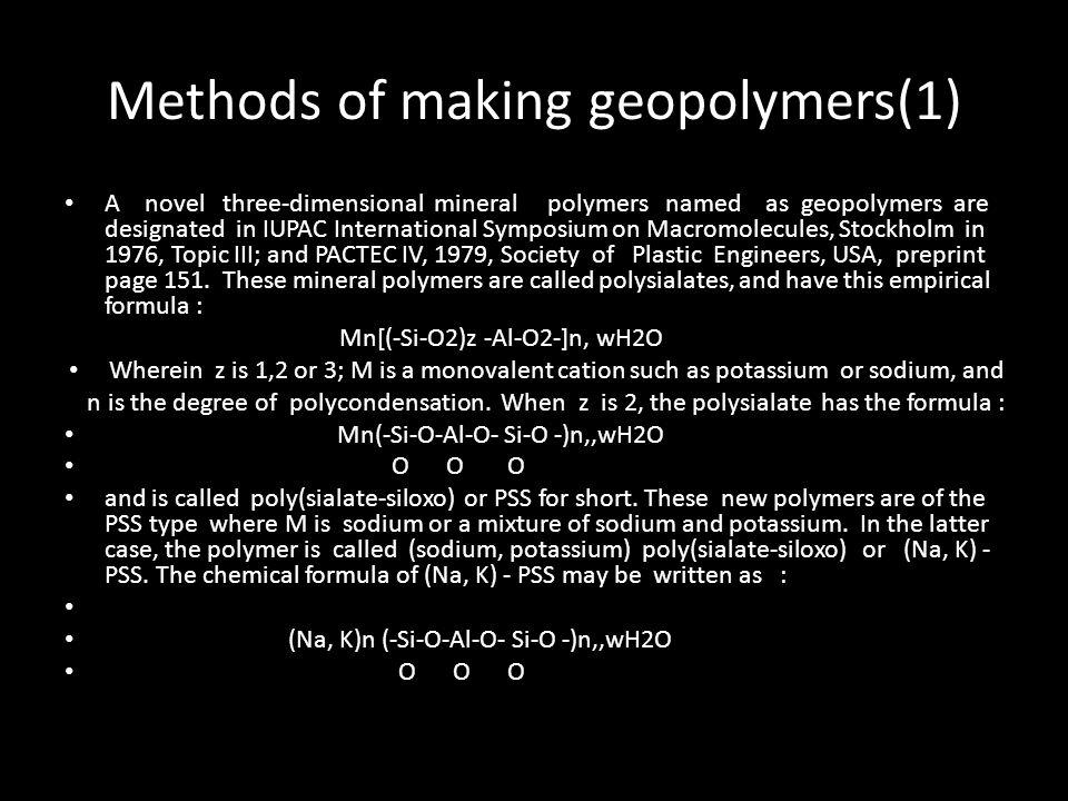 Methods of making geopolymers(1)
