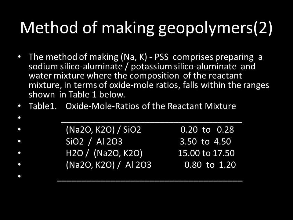 Method of making geopolymers(2)