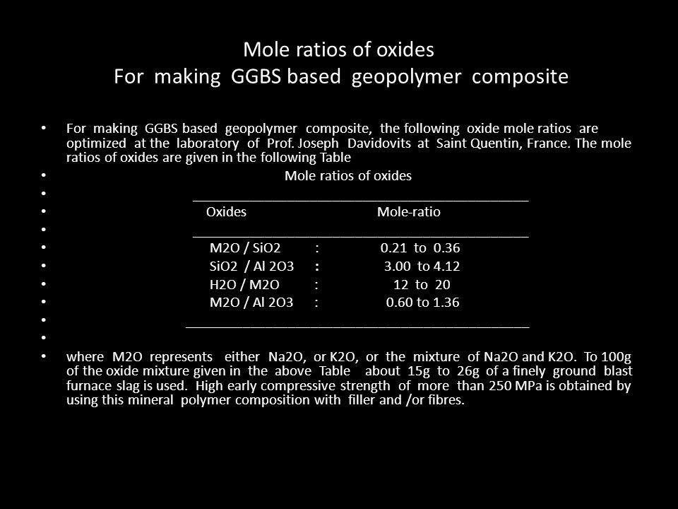 Mole ratios of oxides For making GGBS based geopolymer composite