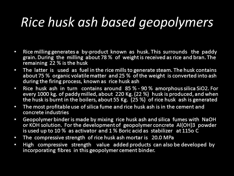 Rice husk ash based geopolymers