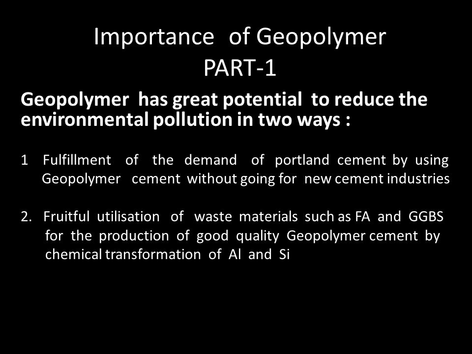 Importance of Geopolymer PART-1