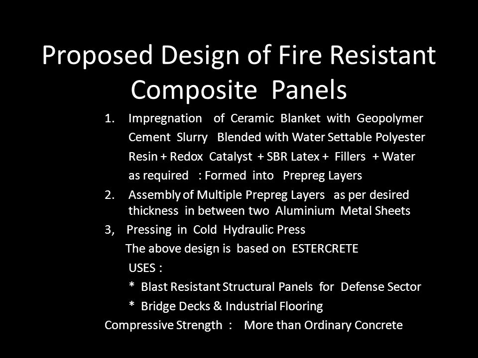 Proposed Design of Fire Resistant Composite Panels