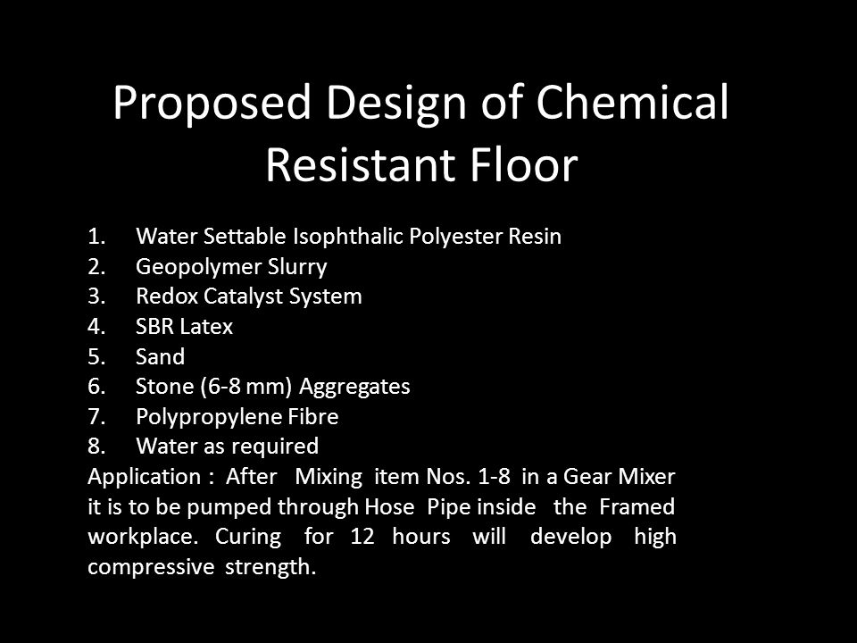 Proposed Design of Chemical Resistant Floor
