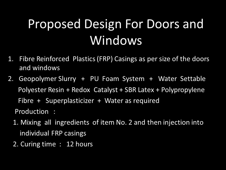 Proposed Design For Doors and Windows