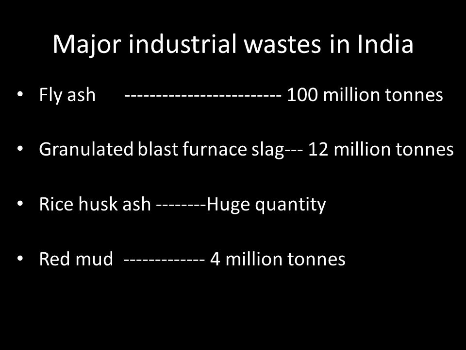 Major industrial wastes in India