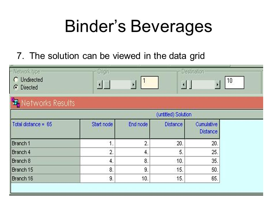 Binder's Beverages 7. The solution can be viewed in the data grid