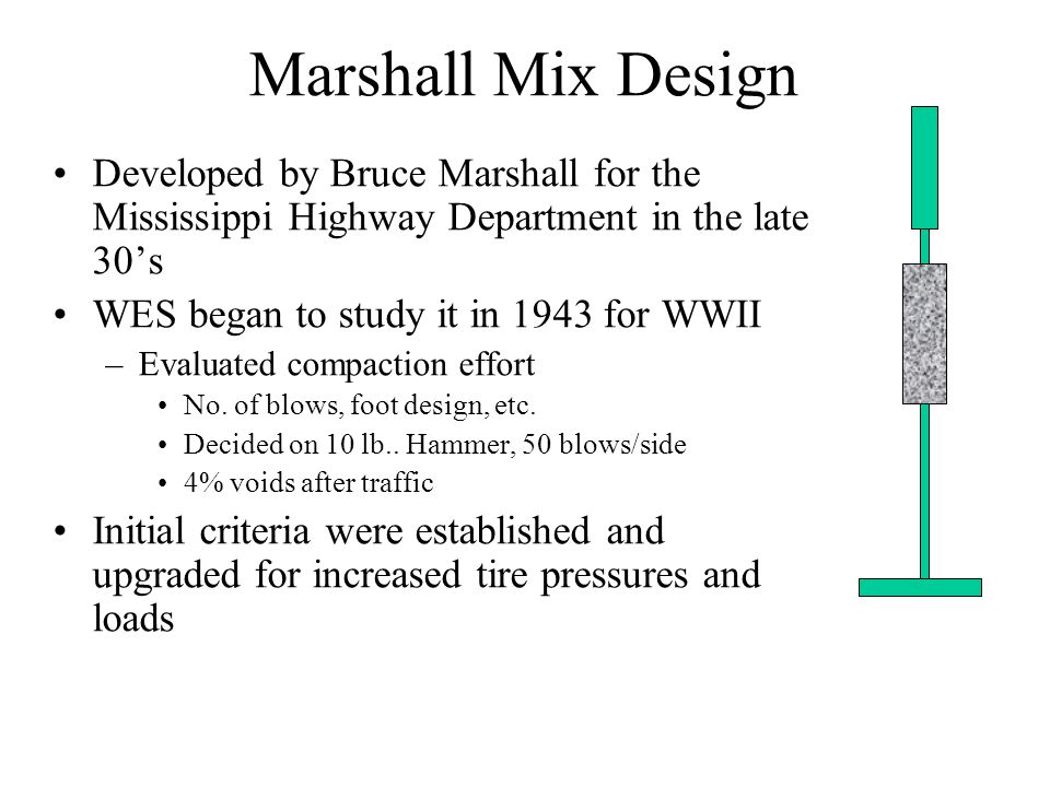Marshall Mix Design Select and test aggregate