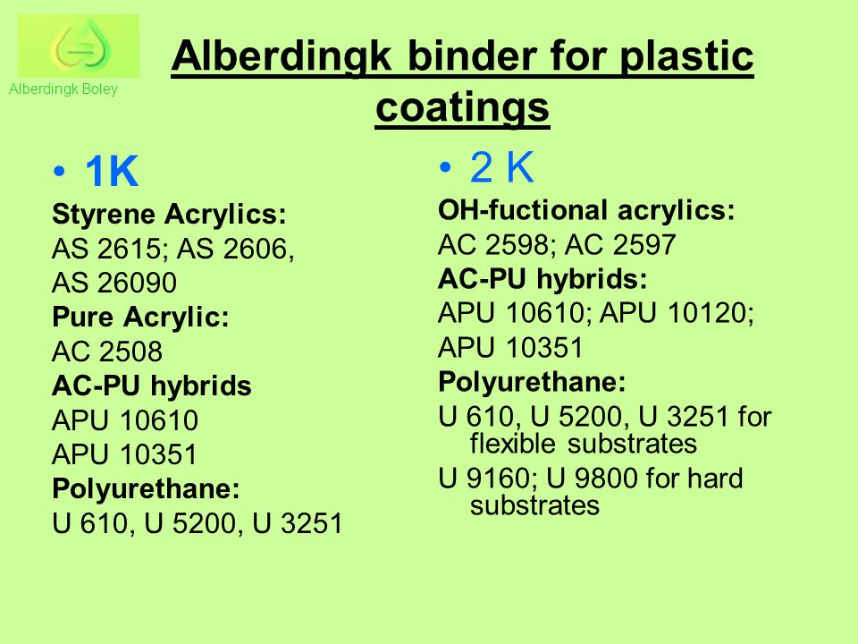 Alberdingk binder for plastic coatings